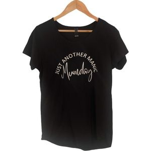 Just Another Manic  Monday Black T-Shirt Size Larg